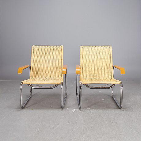 Marcel Breuer 1 pair B35 armchairs
