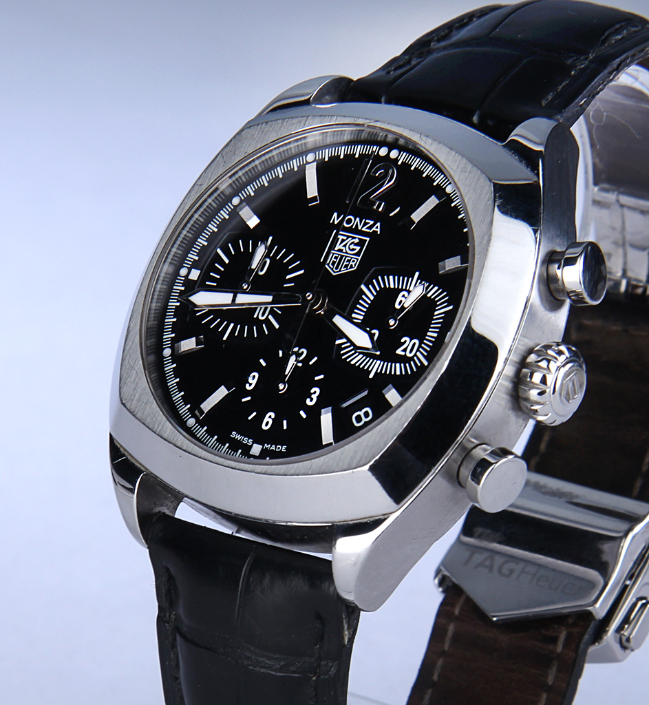 Tag Heuer 'Monza' men's chronograph, steel, black dial, 2000's