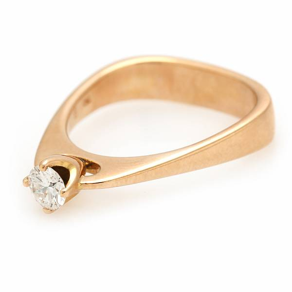 A diamond solitaire ring set with a brilliant-cut diamond on app. 0.30 ct., mounted in 18k gold. Size 53. Georg jensen after 1945.