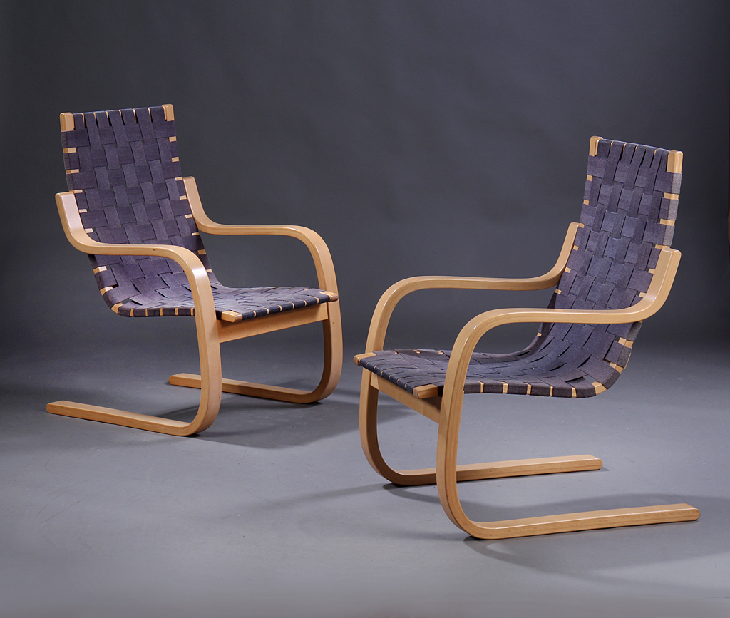 Alvar Aalto. A pair of armchairs with braided did, Artek, model 406. (2)