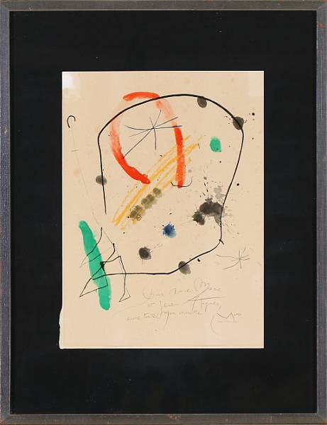 Joan Miró, after: Untitled. Signed in the print and with printed dedication. Lithograph in colours on Arches. Visible size 37 x 27 cm.