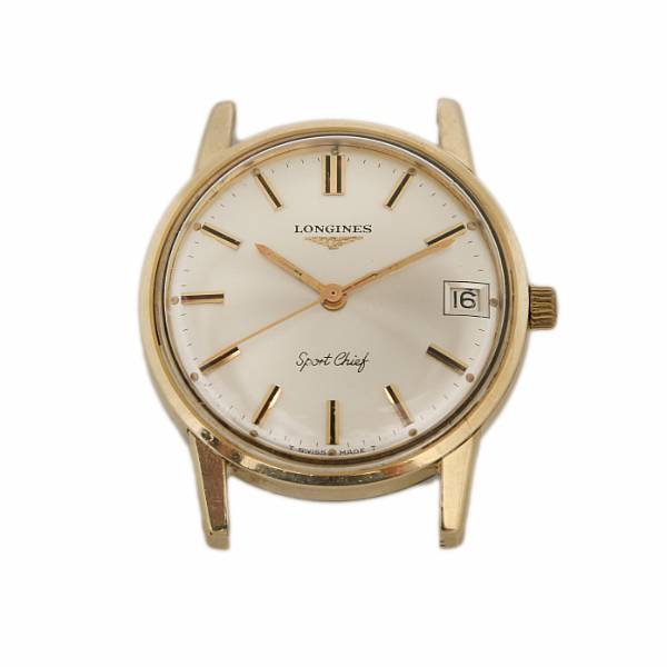 Longines: A gentleman's wristwatch of gold-plated steel. Model Sport Chief. Mechanical movement with manual winding and date. 1960-70s.