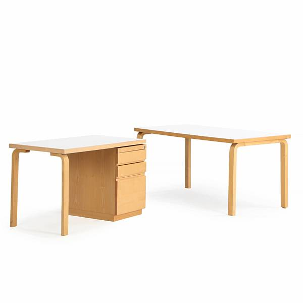Alvar Aalto: Rectangular birch table and small desk, tops with white laminate. Manufactured by Artek, Finland. (2)