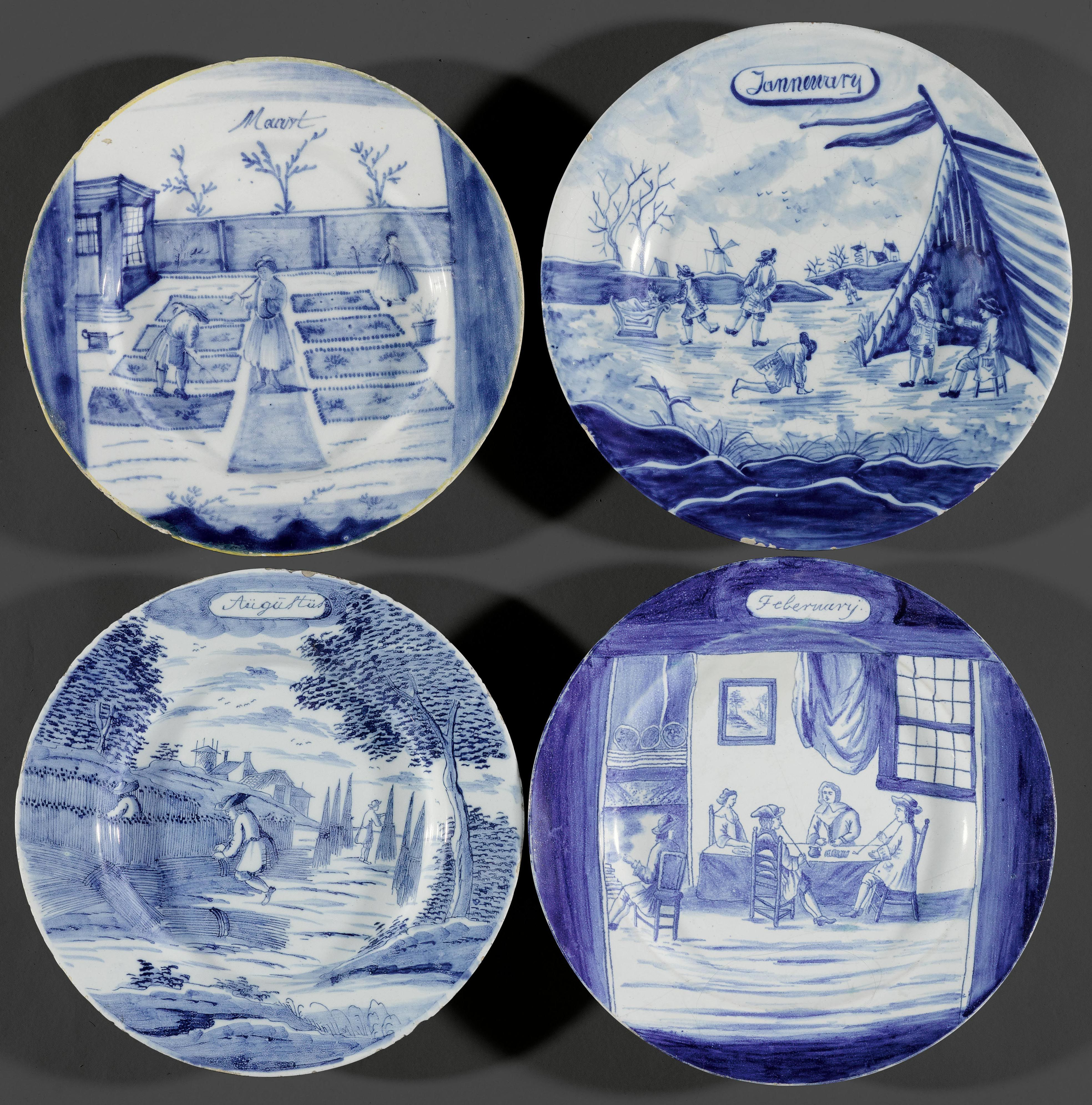 LOT OF 4 PLATES DEPICTING THE MONTHS OF THE YEAR,