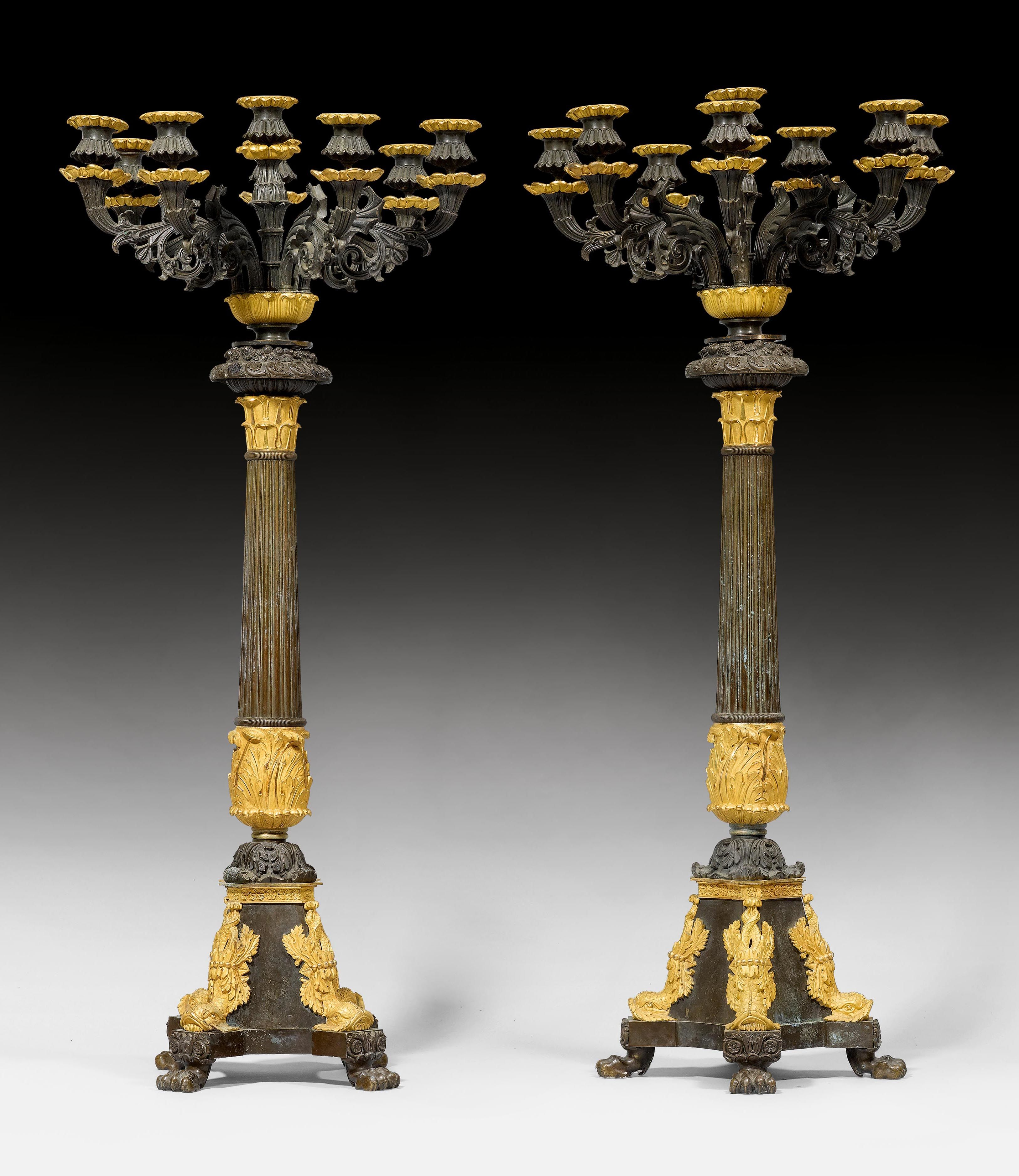 PAIR OF IMPORTANT CANDELABRAS,