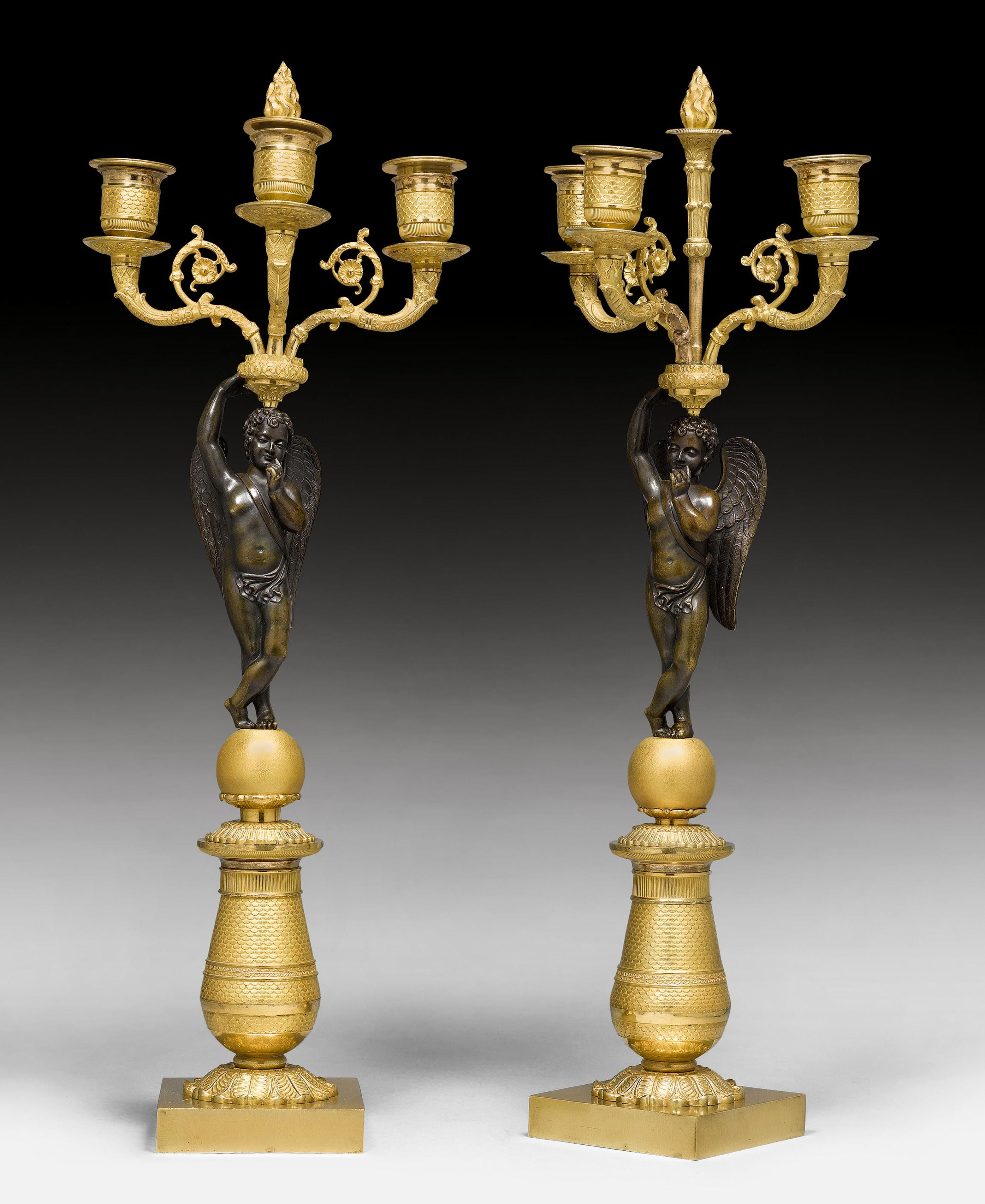 "PAIR OF CANDELABRAS ""A L'AMOUR"","