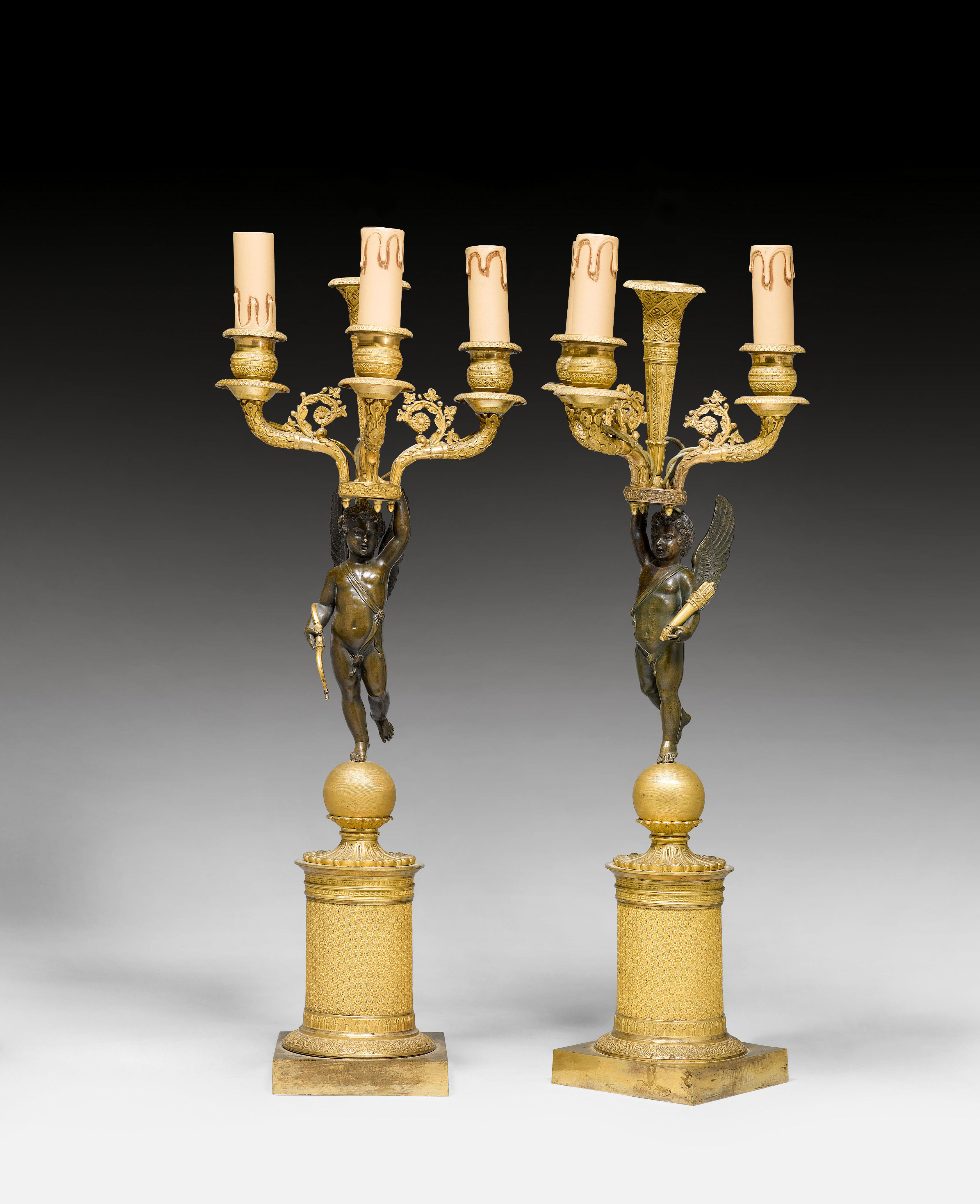 "PAIR OF CANDELABRAS ""AUX ANGELOTS"","