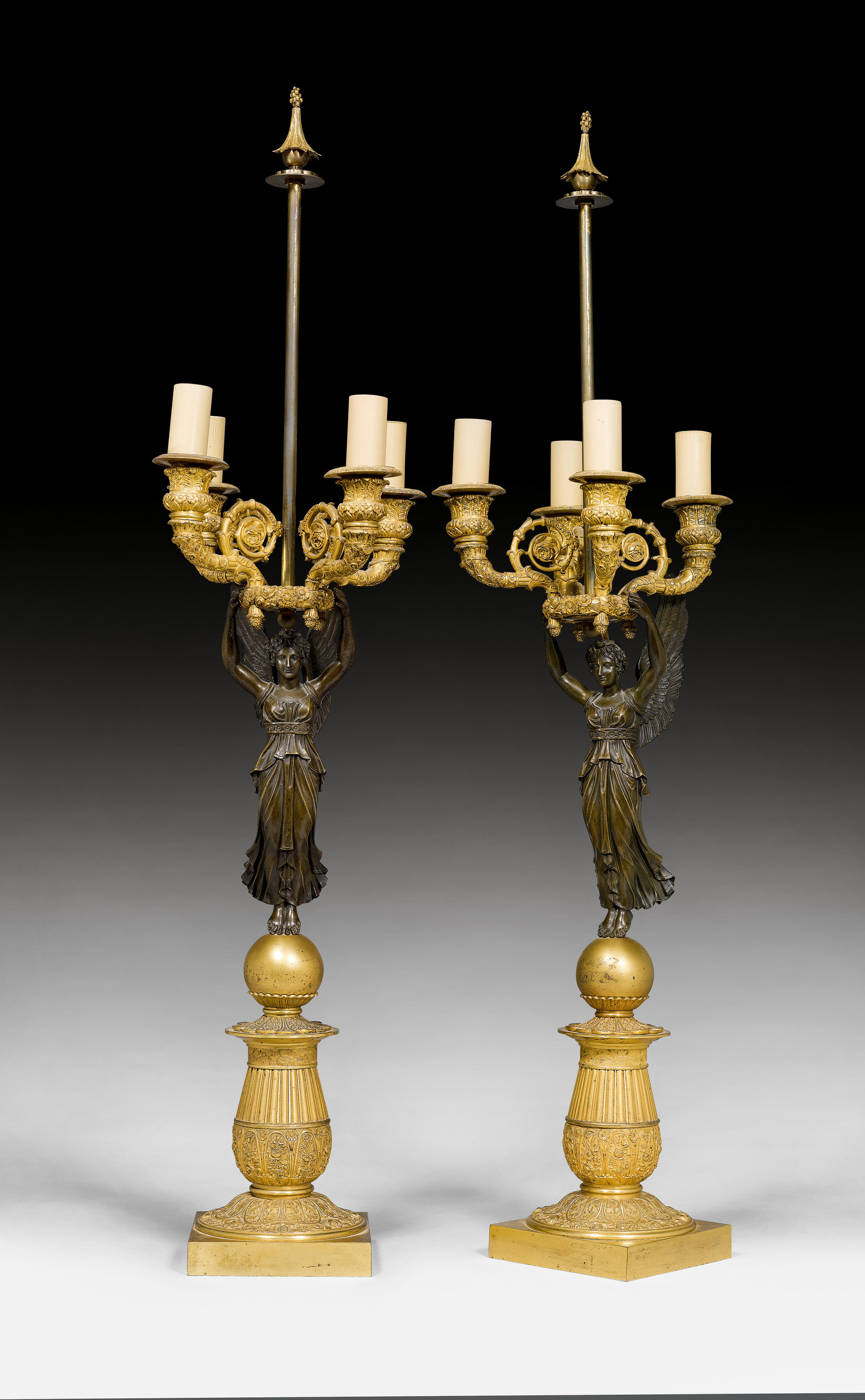 "PAIR OF CANDELABRAS ""AUX VICTOIRES"","