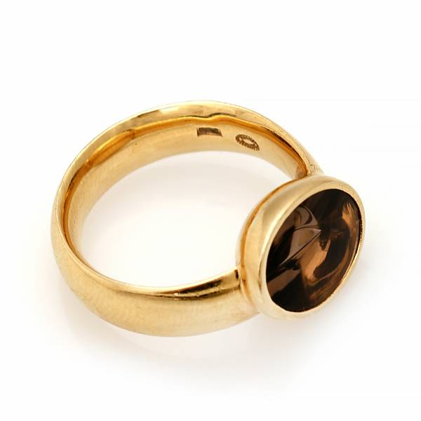 """Kim Buck: A """"Nordic Summer"""" ring set with a fancy-cut smoky quartz, mounted in 18k gold. Size 53. Georg Jensen after 1945."""