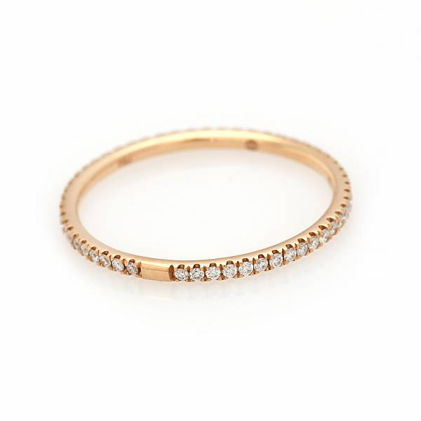 """Georg Jensen: A """"Classic"""" diamond ring set with numerous brilliant-cut diamonds, totalling app. 0.22 ct., mounted in 18k rose gold. Size 53. 2014."""