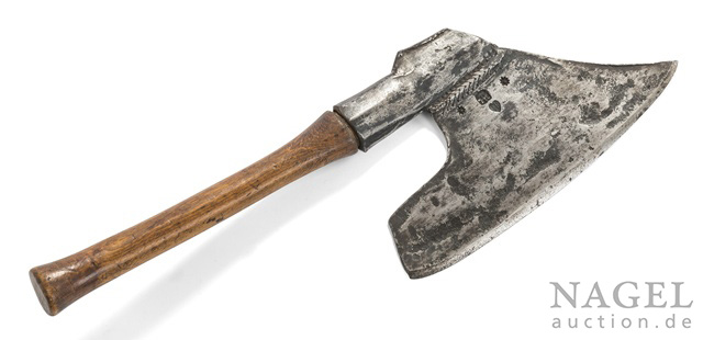 """A wrought-iron carpenter's hatchet, 18th/19th ct. Star-marking and inscribed """"IP"""", finely designed beechwood shaft."""