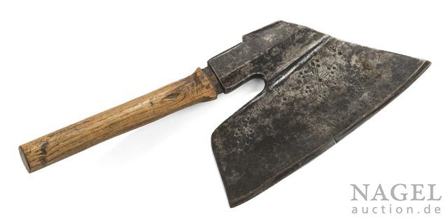 "A wrought-iron carpenter's hatchet, 18th/19th ct. Marked ""KP"", resp. named ""Karl Prinz"". Rowan wood shaft."