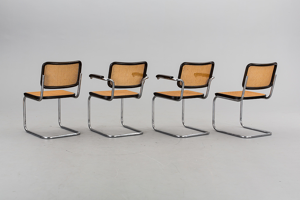 ARMCHAIRS. A couple and chairs, a couple, Marcel Breuer, model B32 and B64, labeled Thonet 80th