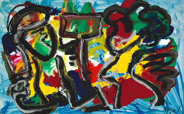 Karel Appel: Untitled. Signed Appel. Acrylic on paper laid down on canvas. 67 x 104 cm.