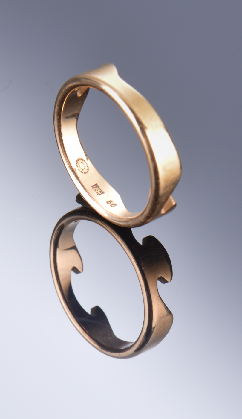 Georg Jensen, simple fusion ring in 18k yellow gold
