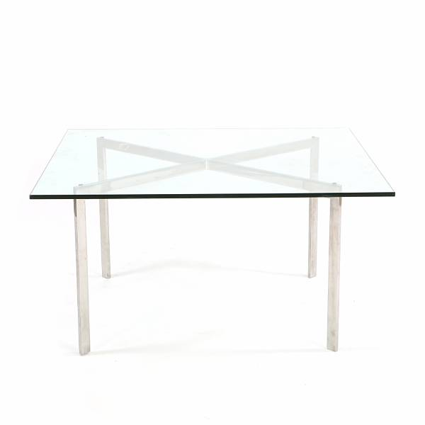 "Ludwig Mies van der Rohe: ""Barcelona"". Quadratic coffee table with frame of chromed steel, top of clear glass. Designed 1929. Manufactured by Knoll."