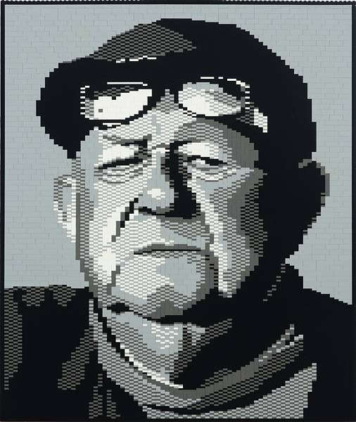 Artist unknown: Portrait of Robert Jacobsen made of LEGO bricks. Unsigned. 76 x 64 cm.