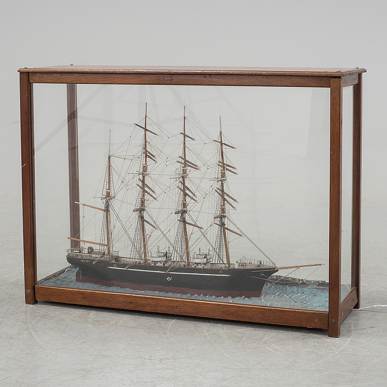 "Model ships. Fyrmastat sailing ship, ""Promise, Stockholm"", 1800 / 1900s."