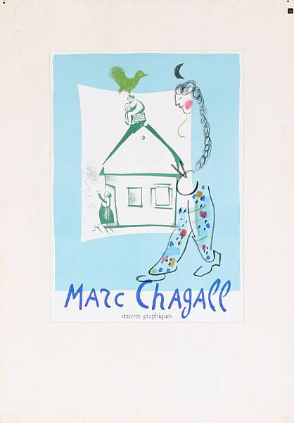 Marc Chagall: Four exhibition posters. Signed in print. Litographs in colours. Visible size from 56 x 48 cm to 77 x 50 cm. (4)