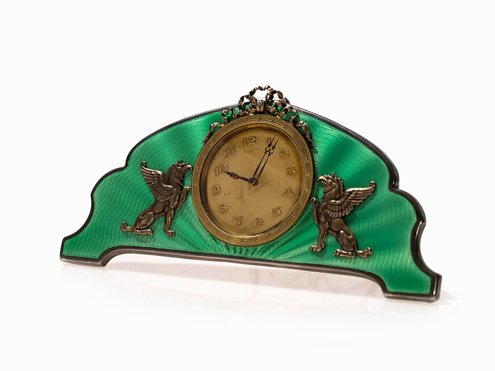 A Fabergé-Style Enamel Table Clock with Griffins, Russia, 20thC