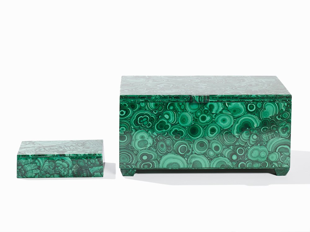2 Handcrafted Malachite Caskets, Republic Congo, 2015