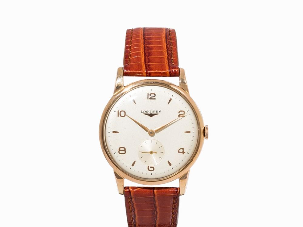 Longines Oversize Gold Wristwatch, Switzerland, c. 1950