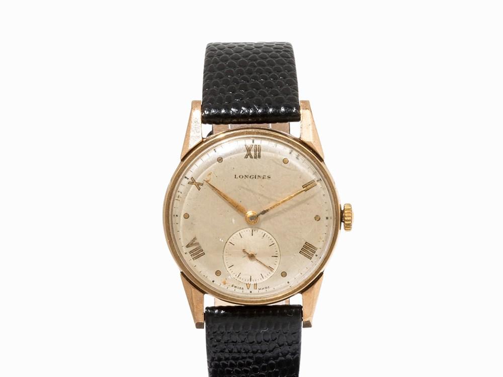 Longines Gold Vintage Wristwatch, Switzerland, c. 1948