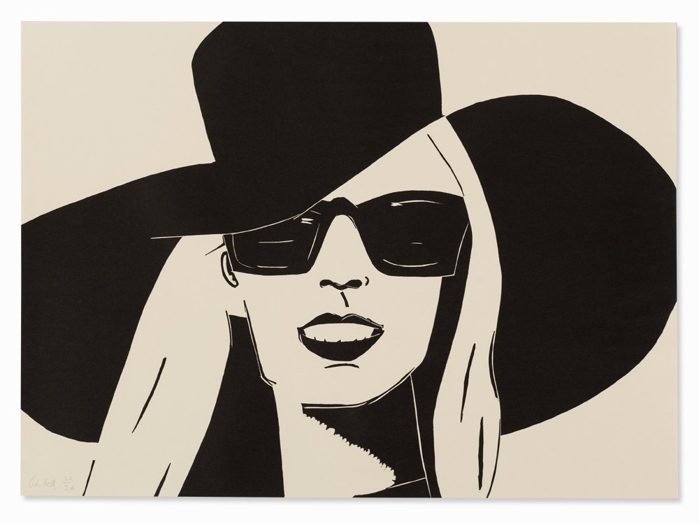 Alex Katz, Black Hat (Nicole), Woodcut, 2010