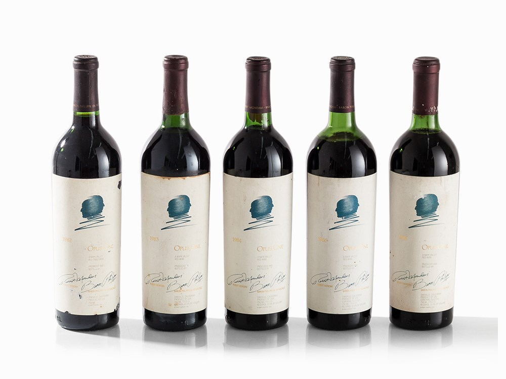 5 Bottles Opus One, 1982-1988 Vintages