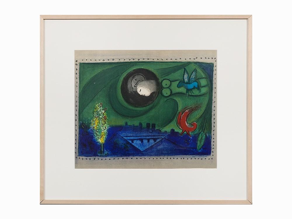 Marc Chagall, Color Lithograph, 'Quai de Bercy', 1954