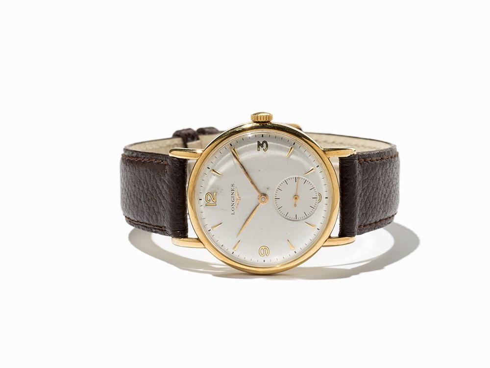 Longines Gold Vintage Wristwatch, Switzerland, C. 1949