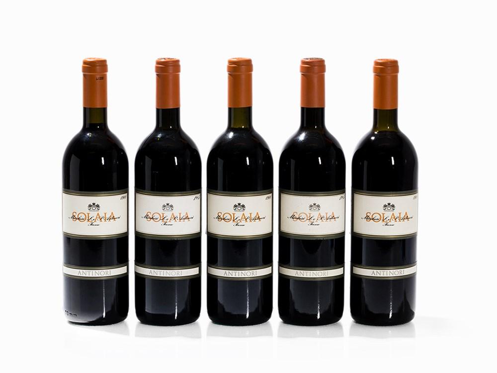 5 Bottles 1985/1988 Antinori Solaia, Vino da Tavola