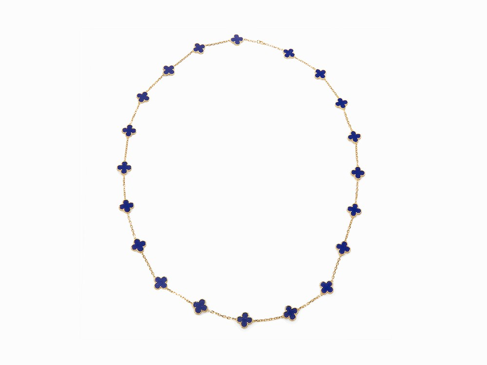 VCA Alhambra Necklace, 18K Yellow Gold & Lapis, France, c. 2000