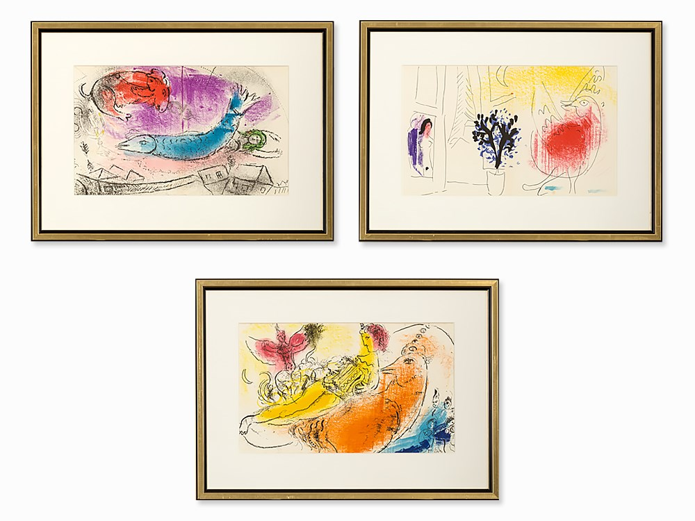 Marc Chagall, 3 Lithographs from the book 'Chagall', 1957