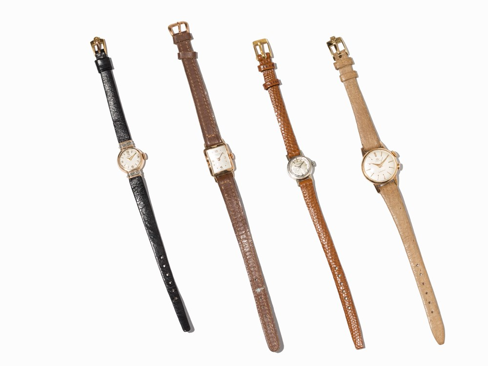 Omega, Jaeger LeCoultre, Movado, IWC, 4 Women's Watches 1940-60