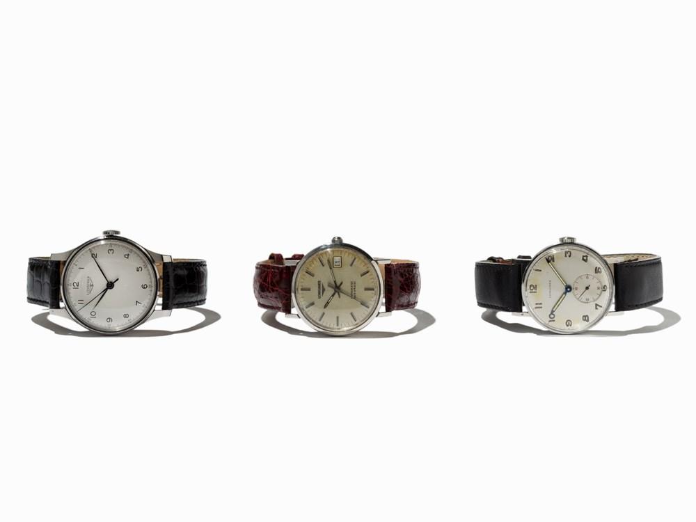Longines 3 Wristwatches, Switzerland, 1950-1980