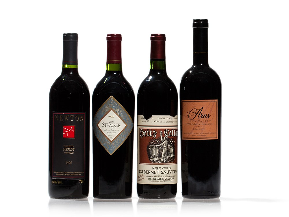 4 bottles of wine from the Napa Valley, 1995 & 1996 vintages