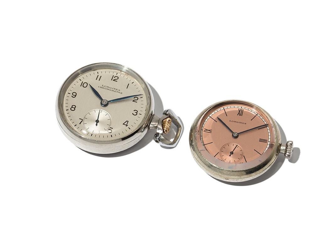 Longines, 2 Pocket Watches, Switzerland, Around 1970