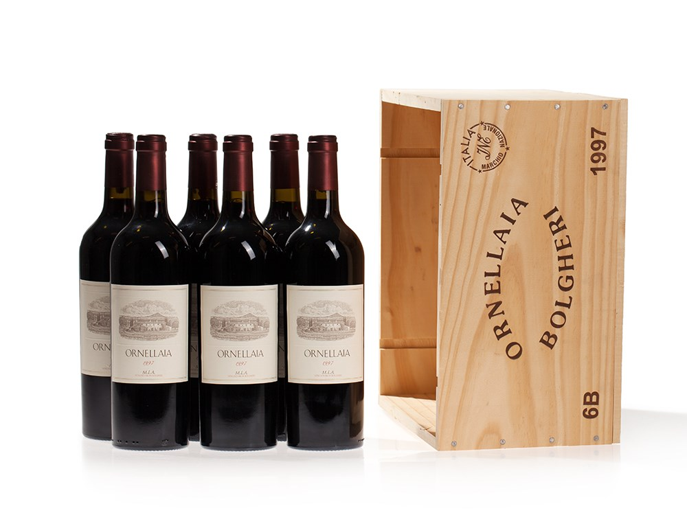 Original wooden case, 6 bottles 1997 Ornellaia, Tuscany
