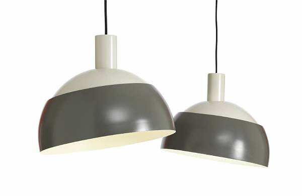 Finn Juhl: A pair of pendants with two-tone grey lacquered metal shades, adjustable bottom part. (2)