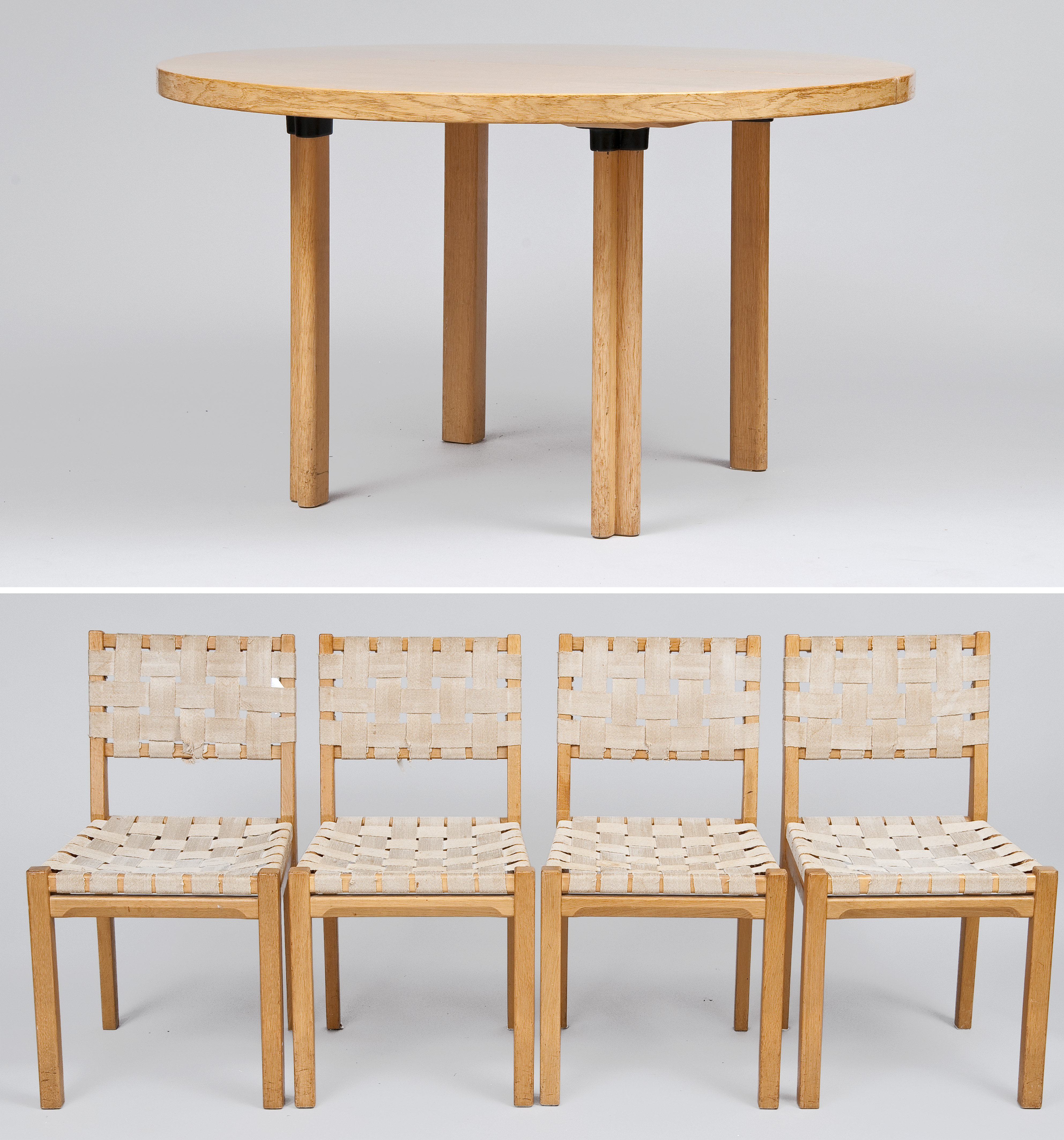 ALVAR AALTO, A TABLE AND 4 CHAIRS.