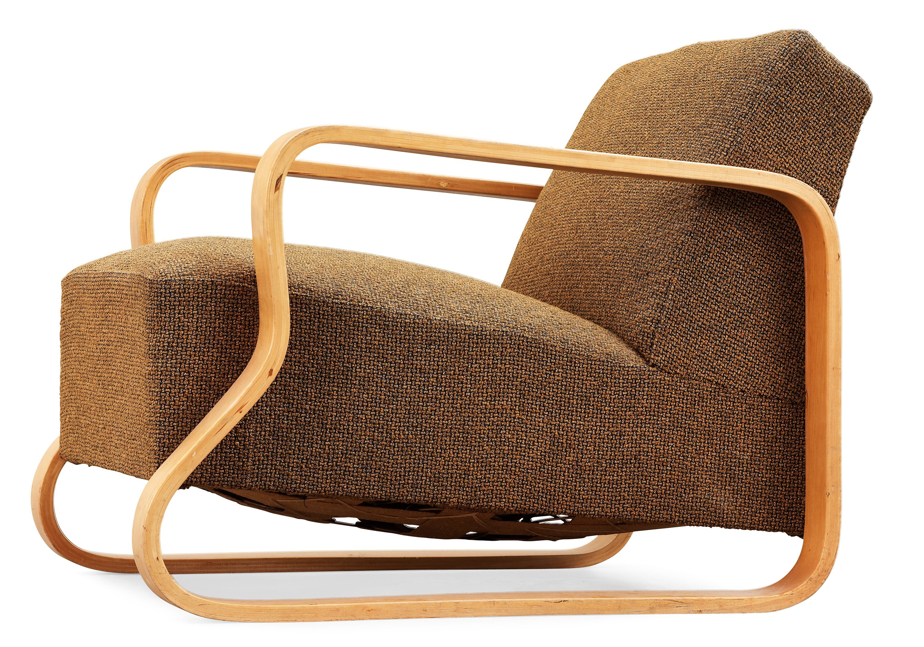 An Alvar Aalto laminated birch 'padded Paimio chair', upholstered in yellow and black fabric.