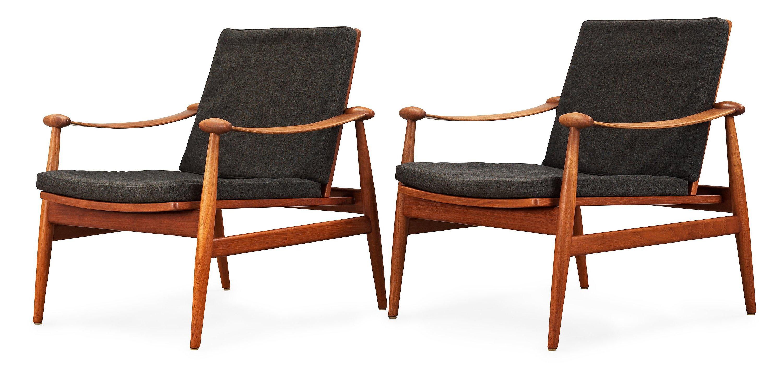 A pair of Finn Juhl teak easy chairs, France & Daverkosen, Denmark.
