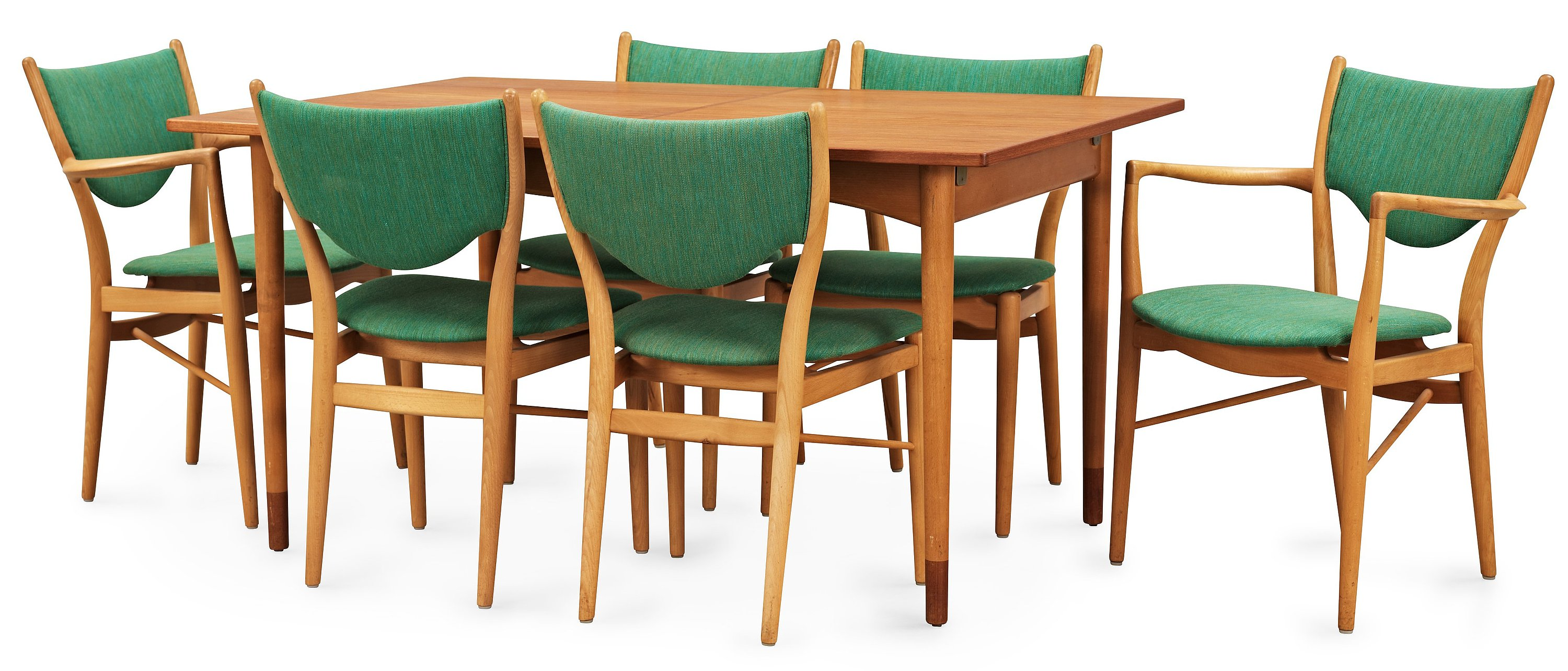A Finn Juhl dining set of a teak and beech table, four beech 'BO-63' chairs and two armchairs, Bovirke.