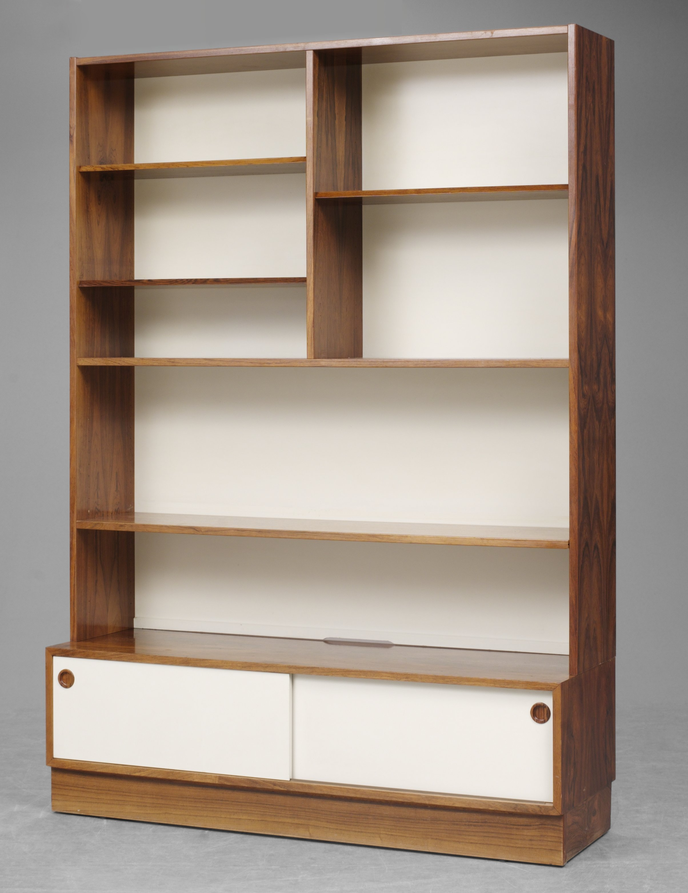 A Finn Juhl palisander and grey painted bookcase cabinet by Bovirke 1960's.