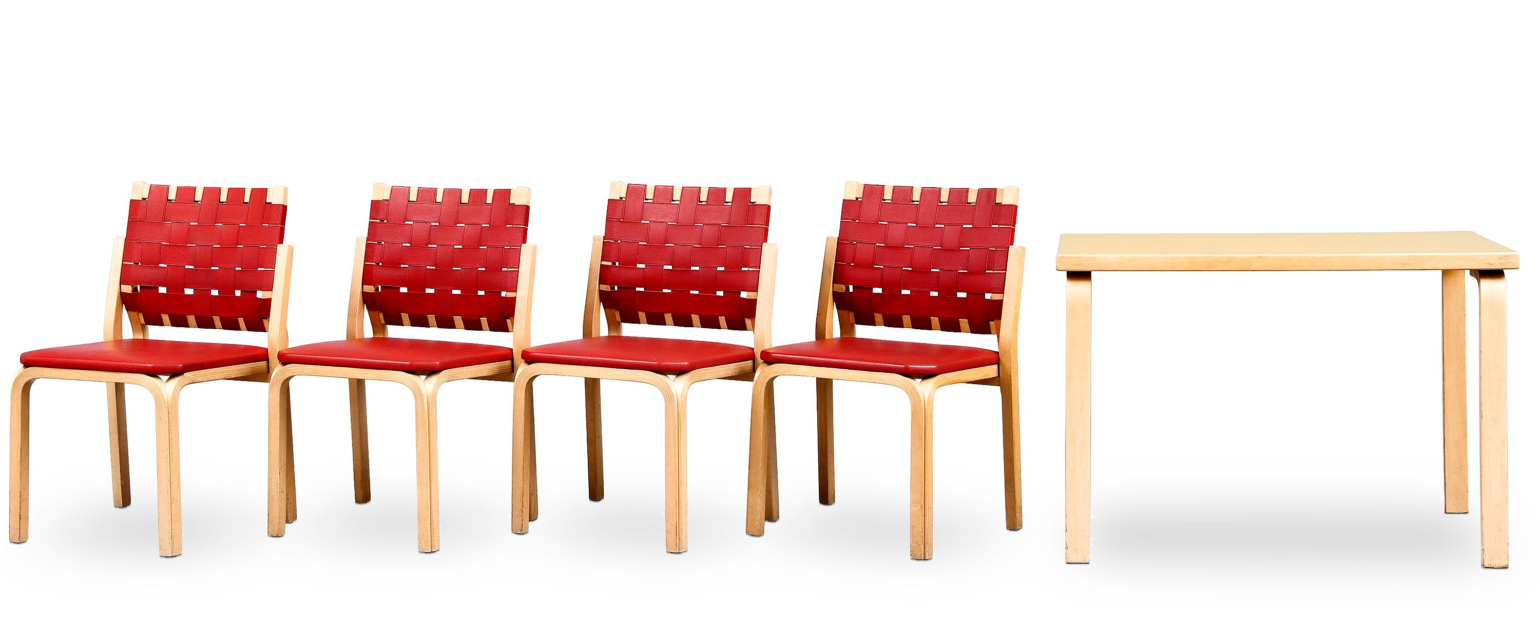 ALVAR AALTO, A TABLE AND 4 CHAIRS No 612.