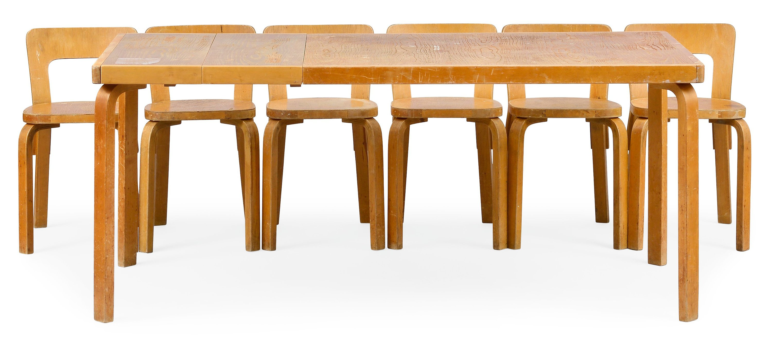 ALVAR AALTO, A SEVEN-PIECE DINING-TABLE SET.