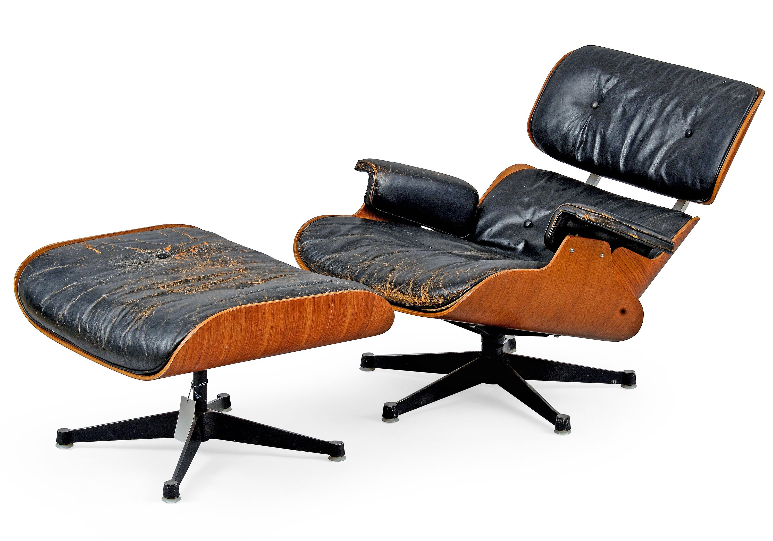 CHARLES & RAY EAMES, LOUNGE CHAIR WITH OTTOMAN.