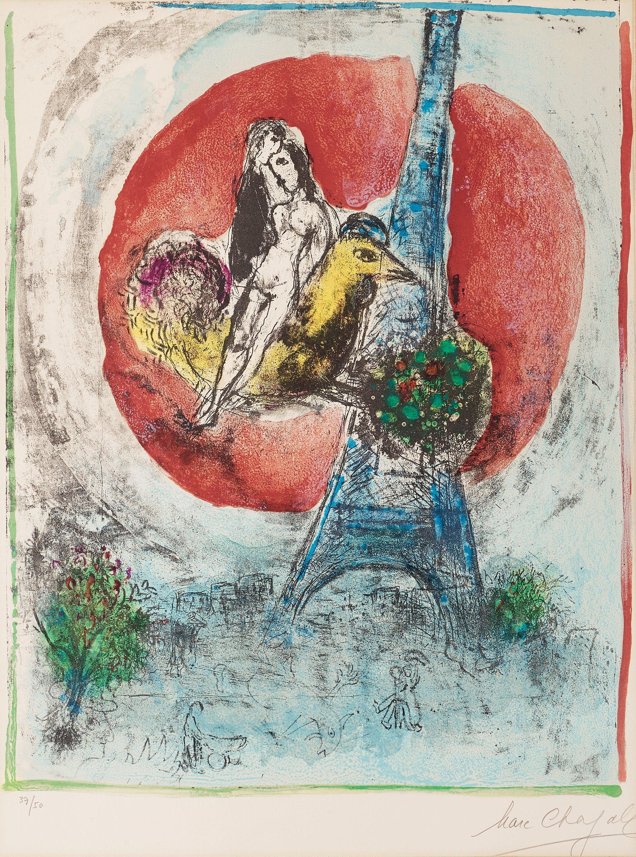 """MARC CHAGALL, """"Les amoureux de la Tour Eiffel""""."""