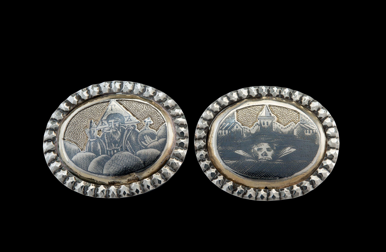2 BADGES, gilt silver, niello.